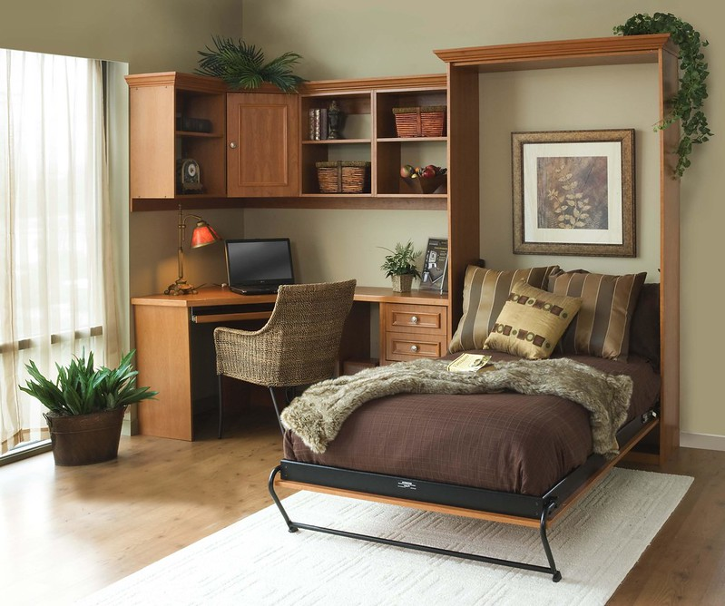 custom home office and wall bed storage solution