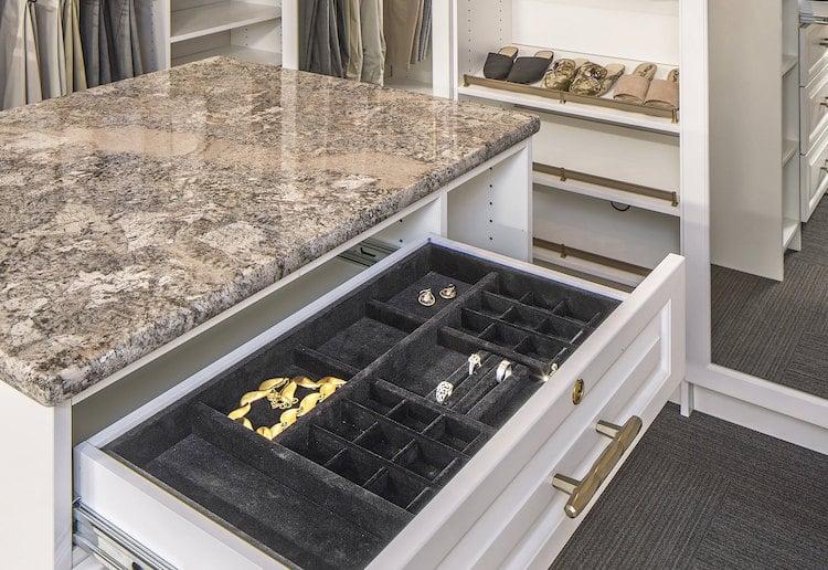 velvet-lined drawer custom closet accessory