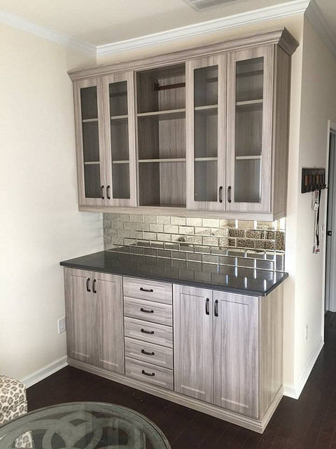 Wet bar with glass cabinets
