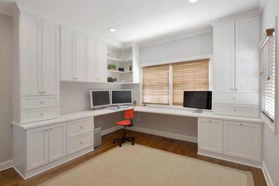 Contemporary built in home office.